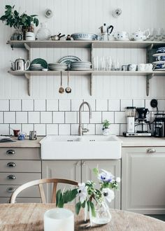 butcher block counters, open shelves, country sink