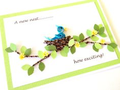 Handmade paper quilled Good Luck in your New Home by Joscinta, £5.20