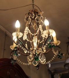 Green chandelier Antique chandelier Green crystal chandelier lighting Ceiling light Vintage chandelier light Chandelier lamp 5 arms light Green Chandeliers, Crystal Chandelier Lighting, Antique Chandelier, Chandelier Lamp, Valentines Gifts For Her, Vintage Items, Ceiling Lights, Crystals, Antiques
