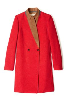 red coat with camel collar