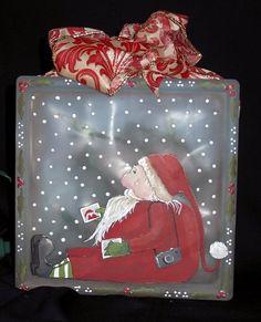 love the artwork! Christmas Glass Blocks, Christmas Wood, All Things Christmas, Winter Christmas, Christmas Ideas, Painted Glass Blocks, Decorative Glass Blocks, Lighted Glass Blocks, Holiday Crafts