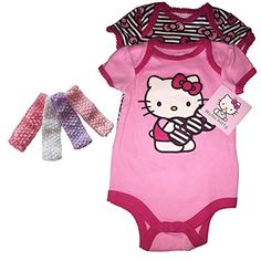 # Great New Baby Gift.Hello Kitty Baby Girls 2-Infant BodySuits with Pink Headband Bundle Gift Set (3-6 Months) Hello Kitty