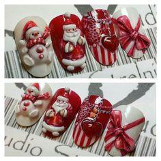 3D дизайн ногтей, новогодний, снеговик More