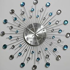 Diamante Beaded Jeweled Sunburst Metal Spikes Silver Teal Wall Clock 121 for sale Teal Wall Clocks, Silver Wall Clock, Silver Walls, Teal Walls, Kitchen Wall Clocks, Clock Art, Diy Clock, Wall Clock Luxury, Peacock Wall Art