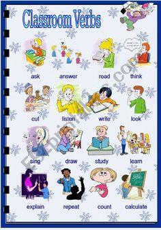 Classroom verbs worksheet