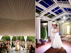 Love the draping and love the blue roof!