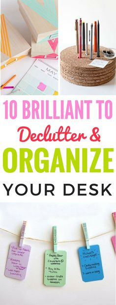 10 Ways To Declutter And Reorganize Your Desk For Ultimate Productivity - Fantastic tips that explain in detail how to declutter and organize your desk! Really the best productivity tips I've read! Also includes pretty Diy Organization Projects