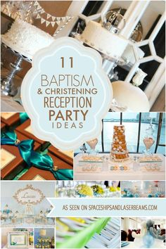 Beautiful Baby Baptism Reception Party Ideas - Spaceships and Laser Beams Christening Dessert Table, Christening Centerpieces, Christening Themes, Baptism Themes, Baptism Ideas, Baptism Food, Baby Boy Christening Decorations, Christening Party Favors, Baptism Party Decorations