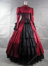 Gothic Victorian Corset Dress Gown Steampunk Reenact Theatre Clothing 068 M