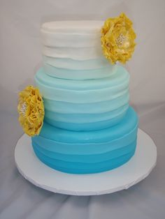 Teal Hombre wedding cake with yellow fantasy flowers by Artistic Cake DeZine