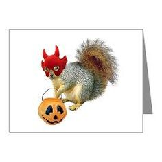 Trick or Treat Squirrel Note Cards. A squirrel in a devil mask goes trick-or-treating on Halloween.