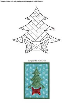 Christmas Tree with Bow Iris Folding Pattern on Craftsuprint designed by Sarah Edwards - An iris folding pattern of a Christmas tree with a large bow underneath.This is a fairly tricky pattern because there isn't much gap between the bow and the tree, so it might not be suitable for beginners to iris folding. - Now available for download!