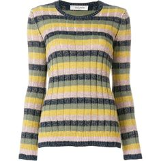 Valentino Metallic Striped Knit Jumper (3,620 PEN) ❤ liked on Polyvore featuring tops, sweaters, metallic sweater, multi colored striped sweater, colorful sweaters, metallic knit sweater and multi color sweater