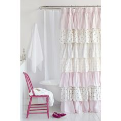 Pink Floral French Ruffle Shower Curtain | Overstock.com Shopping - The Best Deals on Shower Curtains