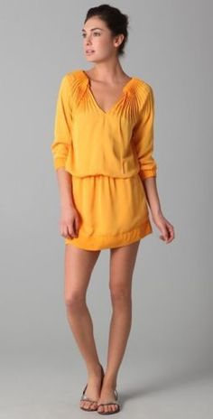 Diane von Furstenberg Mikino Orange drawstring dress $116.61
