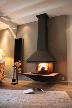 57 Fireplace Home Decor For You This Winter - Luxury Interior Design Hanging Fireplace, Home Fireplace, Modern Fireplace, Living Room With Fireplace, Fireplace Design, Living Room Decor, Fireplaces, Living Rooms, Interior Decorating Styles