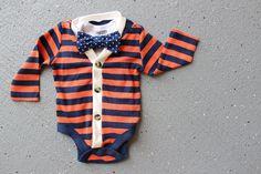 Cardigan and Bow Tie Onesie Set - Trendy Baby Boy - Orange and Navy Polka Stripe/Dot.
