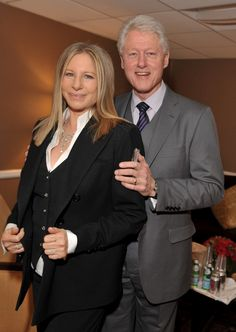 Barbra Streisand and President Bill Clinton    BEVERLY HILLS, CA - MARCH 18: Actress/singer Barbra Streisand (L) and President Bill Clinton pose backstage at the 2011 Public Counsel's Annual Event Honoring President Bill Clinton held at The Beverly Hilton Hotel on March 18, 2011 in Beverly Hills, California. (Photo by Lester Cohen/WireImage)