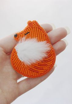Brooch handmade Beaded Beadwork Embroidered brooch, Red white fox foxy