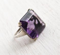 SALE - Vintage Sterling Silver Huge Amethyst Purple Stone Ring - 1960s Signed Uncas Retro Statement Jewelry / Chunky Cocktail Ring by Maejean Vintage on Etsy, $48.00