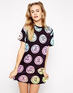 Ichiban T-Shirt Dress With All Over Love Heart Print