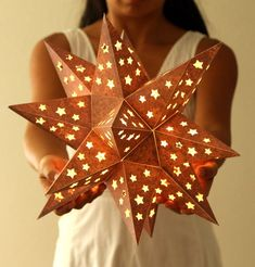 Make a paper star lantern: easy tutorial with free printable templates! Lit with LED fairy lights inside, this Mexican tin star inspired enchanting paper lantern is perfect for a covered patio or as table decor! - A Piece of Rainbow Diy And Crafts, Crafts For Kids, Paper Crafts, Christmas Crafts, Christmas Decorations, Christmas Ornaments, Outdoor Christmas, Xmas, Christmas Tree