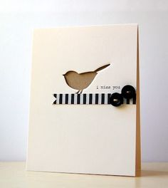 Cute bird negative card. Could do with my butterfly die.