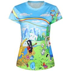 Blue Cute Ladies Crew Neck Cartoon Adventure Time Printed T-shirt ($14) ❤ liked on Polyvore featuring tops, t-shirts, shirts, cartoon character t shirts, crewneck t shirt, crew shirt, crew-neck tee and comic shirts