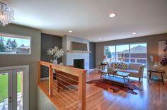 Perfect modern eclectic living room. Split entry remodel. Kirkland, wa