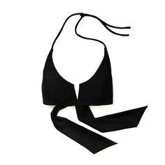 Otis Top in Black. Shop at www.bodymaps.pl #swimwear #beachwear #swimsuit #bathing #suit #top #wide #ribbon #vshape #black #plain #classic #modern #youngdesigner #newbrand #bodymaps