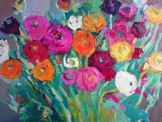 ARTFINDER: Colourful bunch by Lilia Orlova-Holmes - Expressive , semi abstract and emotionally charged painting, inspired buy colours of flowers.