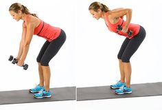 The bent-over row puts the focus on those upper arm muscles:  Starting with feet shoulder-width apart, bend the knees and bend forward at the hips, so your back is almost parallel to the ground. Pull abs toward spine, but do not round low back. Stay neutral in your spine.  Hold the dumbbells with palms facing in and elbows straight with hands underneath shoulders. Keeping your knees bent and back straight, bend elbows straight back and lift your hands toward the sides of your chest. Focus on…