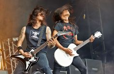 Because they are worth it: Rob Cavestany and Ted Aguilar (L-R) of Death Angel performs on stage on Day 1 at Bloodstock Open Air Festival 2013 at Catton Hall in Derby, England. Photograph: Gary Wolstenholme/Redferns via Getty Images