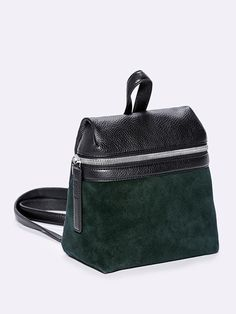 KARA | Suede Small Backpack, forest suede and black pebble leather