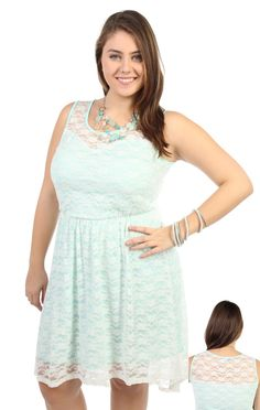 Deb Shops plus size #mint green #lace high low dress
