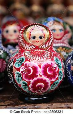 Close-up of a russian matryoshka , Typical Russian, Matryoshka Doll, Beautiful Dolls, Christmas Bulbs, Holiday Decor, Creative, Cards, Handmade, Madness
