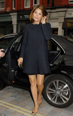 Black to basics: Gemma Arterton managed to look glamorous in a simple black coat while dining at the Chiltern Firehouse on Thursday evening