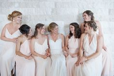 Bridesmaids in Blush Flowing Gowns | Someday We'll Find It, The Rainbow Connection | Anne and Michael Get Married at The Bridge Building with photos by Matt Andrews | The Pink Bride®️ www.thepinkbride.com
