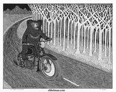 Sloth Bear on Motorbike, 8x10, black pen on paper