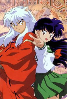 InuYasha (a half dog-demon) and Kagome (a girl from modern Tokyo) - InuYasha Official Artwork