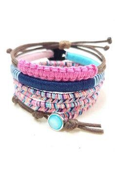Get 15% OFF with code PINTASSY15   Boho Bracelet Stack - Set of 3 Colorful Thread Bracelets.