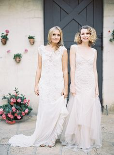 Romantic, vintage-inspired Antonia and Briana SARAH JANKS wedding gowns, captured by Jen Huang Photography