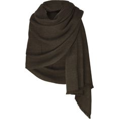 Bamford Yak wool blanket shawl ($638) ❤ liked on Polyvore featuring accessories, scarves, outerwear, jackets, tops, women, brown scarves, shawl scarves, bamford and brown shawl