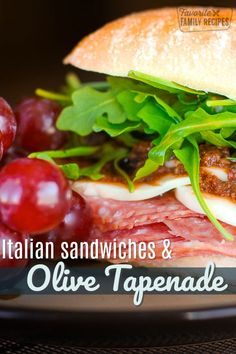 These Italian Sandwiches with Olive Tapenade are loaded with thin sliced salami and mozzarella cheese then topped with a yummy olive tapenade spread. Lunch Recipes, Gourmet Recipes, Pasta Recipes, Dinner Recipes, Cooking Recipes, Healthy Recipes, Yummy Recipes, Best Italian Recipes, Italian Foods
