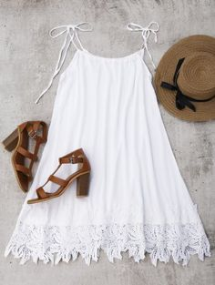 Summer No Solid Lace Sleeveless Spaghetti Mini Slip Trapeze Beach Cute Lace Trim Trapeze Sundress - Dress - Trendy Dresses, Nice Dresses, Casual Dresses, Maxi Dresses, Sun Dresses, White Lace Romper, Dress Lace, White Sundress, Dress Red