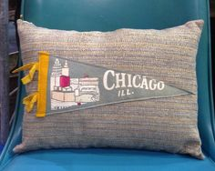 vintage Chicago pennant pillow by DressyIsles on Etsy