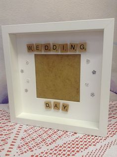 Wedding day scrabble tiles photo frame