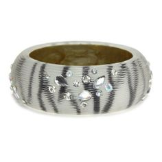 """Fashion Rhinestone Bangle; 2.5"""" Diameter Opening And 1.25""""L; Black And White Zebra Print; Clear And AB Rhinestones Eileen's Collection. $24.99"""
