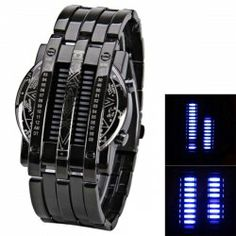 $10.51 Steel Band LED Screen Watches with Blue Light Display Round Shaped