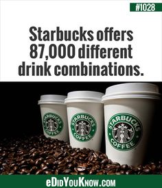 Starbucks offers different drink combinations. Wow Facts, True Facts, Weird Facts, Random Facts, Starbucks Coffee, Hot Coffee, Did You Know Facts, Useful Life Hacks, Drinks